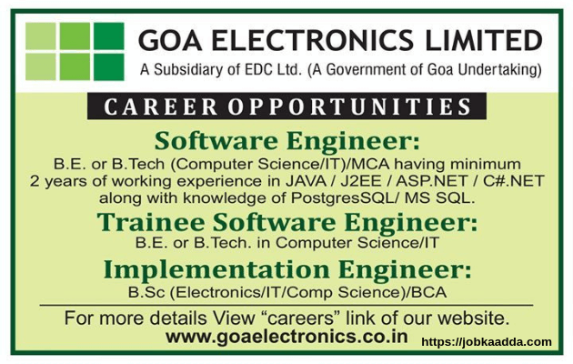 Goa Electronics Limited Recruitment 2019